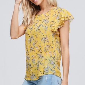 Yellow Flirty Flutter Sleeve Floral Silk Top!